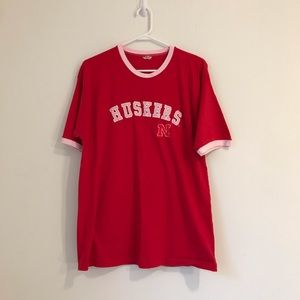 Tops - Red Huskers Embroidered Patch Shirt Nebraska